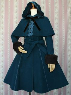victorian maiden - rose lace coat with hood cape