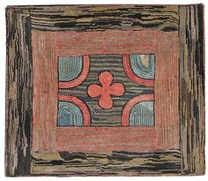 Hooked rug, early 20th c., with a floral center : Lot 275