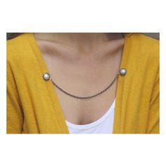 Sweater Guard Cardigan Clip Collar Clip Vintage Inspired Retro Dainty SILVER CHAIN Jewelry - Elizabeth