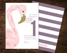 flamingo birthday invitation flamingo birthday by SpruceAndWillow