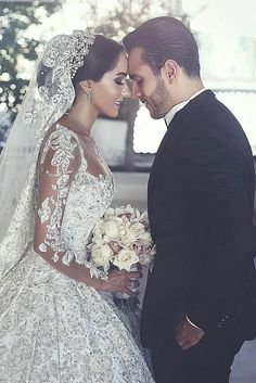 Long Sleeves Arabic Wedding Dresses With Long Train Robe De Mariee Sexy Sheer Neck Lace Appliqued Beaded Wedding Gowns. Custom Made Designer Wedding Dresses Arabic Wedding Dresses, Beaded Wedding Gowns, Arab Wedding, Bridal Dresses, Wedding Day, Wedding Venues, Wedding Bride, Lebanese Wedding Dress, Wedding Reception