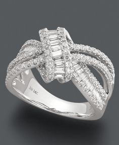 Effy Collection Diamond Ring, 14k White Gold Diamond Loop Ring