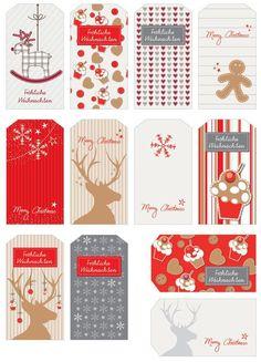 Unas etiquetas de Navidad de varios estilos.  Para la próxima entrega las busco de estilo vintage    Enlace:     http://www.kuchenkult.de/we...
