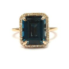 Emerald Cut London Blue Topaz Engagement Ring Pave Diamond Halo 14K Rose Gold 8x10mm - Lord of Gem Rings - 1