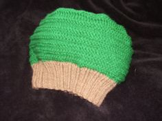 Knit kelly green hat with brown ribbed brim by TenderTatter, $10.00