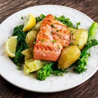 Pan-Fried salmon & Potatoes & Broccoli.