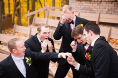 Fun Wedding Picture with Groom and Groomsmen and ring