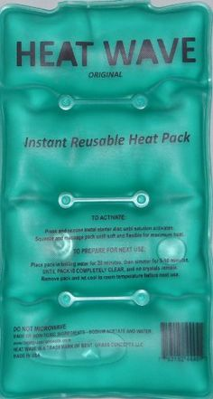 HEAT WAVE Instant Reusable Heat Pack - Medium (5 x 9 inch size). Original Heat Wave Instant Reusable Heat Packs provide therapeutic pain relieving heat in seconds and are reusable for a lifetime. Simply boil the pack in water to reset to original state. Heat Wave Instant Heat Wraps reach a soothing 130 degrees. If you have been using disposable hand warmers or wraps, you only get one use. But with Heat Wave, one purchase and you are set for life! Eco-Friendly - reusable - never has...