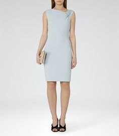 Womens Ice Blue Fitted Dress - Reiss Cecile