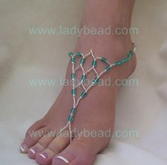Beach Wedding Party Barefoot Jewelry Teal