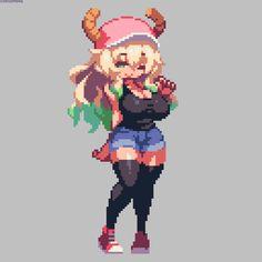 To discuss about the manga and anime Kobayashi-san Chi no Maid Dragon. Cool Pixel Art, Anime Pixel Art, Arte 8 Bits, 8bit Art, Pixel Design, Pixel Art Games, Miss Kobayashi's Dragon Maid, Animes Wallpapers, Anime Art Girl