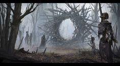Evocation by Alexander Dudar Horror CGSociety Fantasy Concept Art, Dark Fantasy Art, Fantasy Rpg, Fantasy Artwork, Fantasy World, Dark Art, Arte Horror, Horror Art, Fantasy Landscape