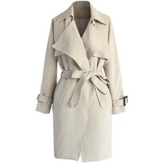 Chicwish Textured Belted Trench Coat in Beige (280 MYR) ❤ liked on Polyvore featuring outerwear, coats, jackets, coats & jackets, casacos, beige, waterfall trench coat, drape coat, beige trench coat and beige coat
