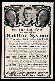 Baldness Cure AD 1902 Baldine System Restores Hair Photo Proof Quack Medicine AD