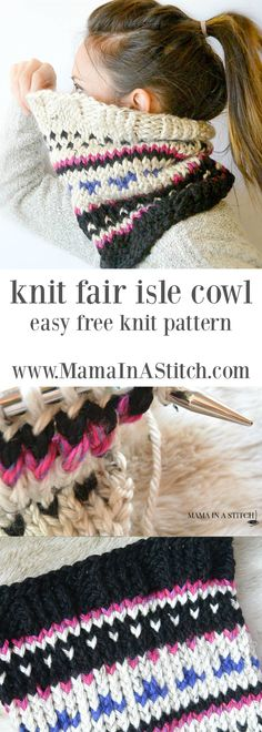 Alpine Heights Knit Fair Isle Cowl via @MamaInAStitch - a really easy, knit scarf cowl pattern with pictures to help you along. #freepattern #knitting #crafts #diy