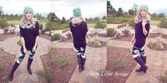 I LOOOVE THIS!!! Must have! Fall style. Purchase entire outfit at www.lillieavenue.com Mint leggings, black tunic, black boots, mint beanie, fall clothes!! #ootd #lovethis #shop #fashion #loveit #getinmycloset #boutique #bestfall #mystyle #womensclothing