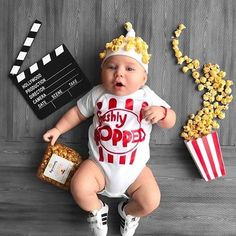 8 Unique Ways To Celebrate Baby's 1st Halloween - Lattes, Lilacs, & Lullabies Baby First Halloween Costume, Baby Halloween Outfits, Baby Halloween Costumes For Boys, Baby Popcorn Costume, Girl Halloween, Halloween Gifts, Baby Outfits, Monthly Baby Photos, Monthly Pictures