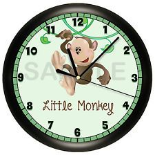 """Does your """"Little Monkey"""" need a clock?  You can personalize this clock with any name or text."""