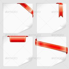 Set White Sheets Paper with Ribbons