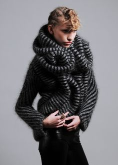 Sculptural Knitwear Design with bold stripes & curved 3D shapes; artistic fashion // Charlotte Mullor