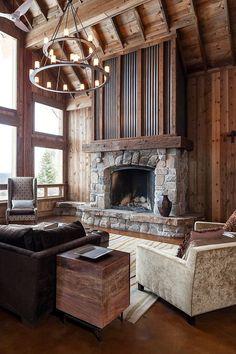 Corrugated metal trim on fireplace