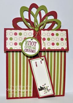 present gift card holder with tutorial--love the use of oval punch to create bow---would be cute on a tag