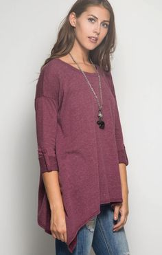 She & Sky Roll Up Sleeve Hankerchief Top in Magenta - Bella Funk Boutique