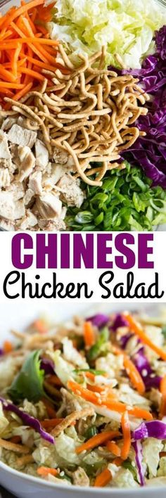 Your new favorite Chinese Chicken Salad! The best mix of salad ingredients paire… Your new favorite Chinese Chicken Salad! The best mix of salad ingredients paired with a homemade Asian salad dressing so good, you'll lick the bowl. via Culinary Hill Lunch Snacks, Lunches, Asian Recipes, Healthy Recipes, Fast Recipes, Boite A Lunch, Main Dish Salads, Chinese Chicken, Chicken Salad Recipes