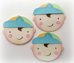 3 BABY BOYS HEADS BABY SHOWER KIDS  PREMADE PAPER PIECING  3D DIE CUT MYTB KIRA  #Handmade