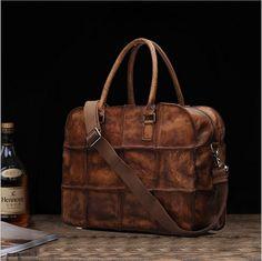 165.00$  Watch here - http://aliljz.worldwells.pw/go.php?t=32725215573 - REGEM MEN BAG Men's Genuine Leather Travel Bag Handbag Vintage Totes Bag Briefcase 165.00$