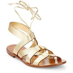 Kate Spade New York Suno Gladiator Sandal ($150) ❤ liked on Polyvore featuring shoes, sandals, kate spade, gold, metallic sandals, gladiator sandals, rubber sole shoes, gladiator sandals shoes and gladiator shoes