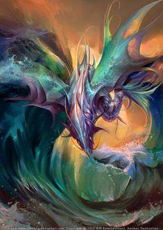 Aquatic element dragon by Feohria