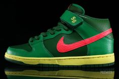 nike sb dunk low lucky green fortress green atomic red 01 570x381 Nike SB Dunk Mid   Lucky Green   Fortress Green   Atomic Red