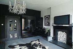 Living Room With Fireplace Black Furniture Design home trends design photos, home design picture at Home Design and Home Interior Black Room Design, Black Interior Design, Interior Styling, Interior Decorating, Diy Design, Design Ideas, Design Trends, Black Furniture, Furniture Design
