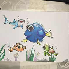 @bbf_drawings their amazing and very adorable Just Keep Swimming illustration, with Nemo and Dory from Disey's Finding Nemo and Finding Dory movies, done with the Chameleon Pens.