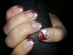 Unghie natalizie Red White glitter #Nails