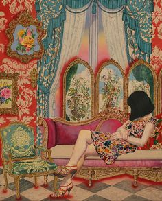 Naomi Okubo Rococo Room 76.2x 60.96cm Acrylic on cotton cloth