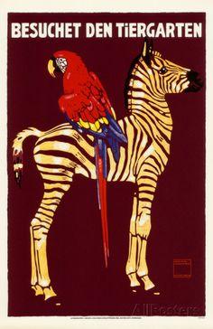 オールポスターズの「Besuchet Den Tiergarten- German Zoo Advertisement」マスタープリント