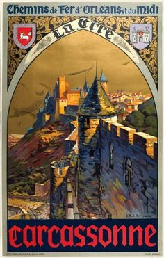 1930s Carcassonne French Rail Travel Poster
