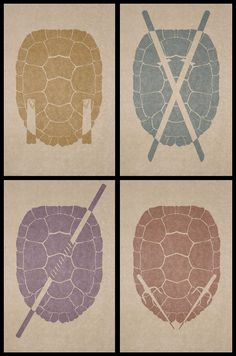 TMNT - by Simon Delart...im going to do my dining room japanese style, how cute would these look on canvas!!!! But maybe metal foil paint on their weapons