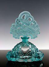 Fabulous Bohemian Art Deco Aquamarine Glass Perfume Bottle