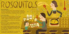 Cositas Ricas Ilustradas por Pati Aguilera: Rosquitas Family Meal Planning, Family Meals, Chilean Recipes, Chilean Food, Vintage Drawing, Food Illustrations, Stevia, Sweet Recipes, Illustrators