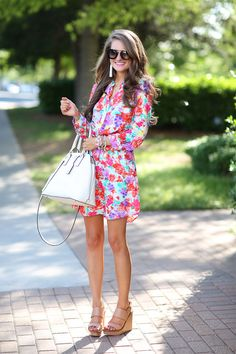 Southern Curls & Pearls: Bright Floral Dress