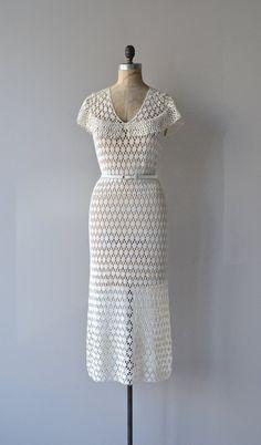 Forever Fair crochet dress 1930s knit dress cotton by DearGolden
