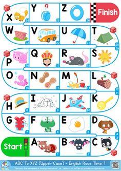 A-Z Upper Case Alphabet - ESL Board Game worksheet - Free ESL printable worksheets made by teachers Letter Games For Kids, Alphabet Games For Kindergarten, Free Kindergarten Worksheets, Alphabet For Kids, Teaching The Alphabet, Free Preschool, In Kindergarten, Preschool Activities, Spanish Alphabet