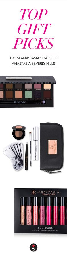 Anastasia Soare, the brilliant beauty mind behind Anastasia Beverly Hills gives us a sneak peek at what she thinks is this season's top makeup gift picks. Perfect choices for your beauty-loving friend or amazing new additions to your own holiday wishlist.