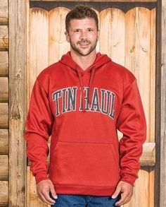"Tin Haul Men's ""Collegiate"" Grey Logo Hoodie college style lettering hooded sweatshirt kangaroo pockets drawstring hood Fall Winter Outerwear warm comfortable layering #fall2015"