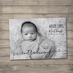 Pin for Later: 35 Beautiful Birth Announcement Cards That Are Going to Make You Want Another Baby  Black and White Stats Card ($8)