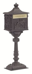 The Amco Victorian Pedestal Mailbox looks to be transported to your house from another, simpler time. This classic Victorian mailbox sits on an ornate. Black Mailbox, Diy Mailbox, Mailbox Post, Wooden Mailbox, Mailbox Ideas, Mailboxes For Sale, Unique Mailboxes, Dbz, Pedestal