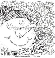 Cheerful snowman and snowflakes. Winter, snow, sled, carrot, buttons. Merry Christmas, Happy New Year. Pattern for adult coloring book. Black and white.
